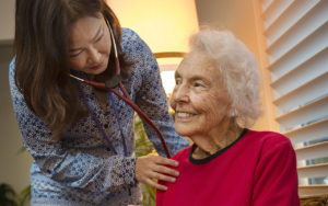 Pathways Nurse Checks Heart of Hospice Patient