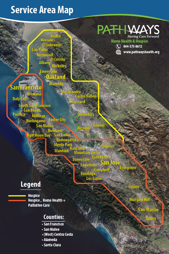 map of Bay Area showing where we provide services